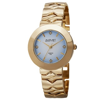 August Steiner Women's Quartz Diamond Markers Gradient Dial Gold-Tone Bracelet Watch