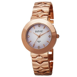 August Steiner Women's Quartz Diamond Markers Gradient Dial Rose-Tone Bracelet Watch with FREE GIFT