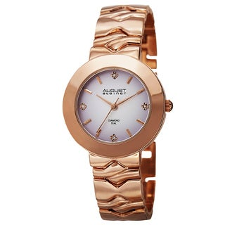 August Steiner Women's Quartz Diamond Markers Gradient Dial Rose-Tone Bracelet Watch
