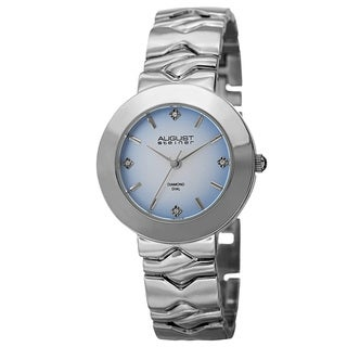 August Steiner Women's Quartz Diamond Markers Gradient Dial Silver-Tone Bracelet Watch