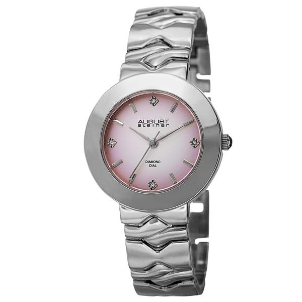 August Steiner Women's Quartz Diamond Markers Gradient Dial Pink Bracelet Watch with FREE GIFT