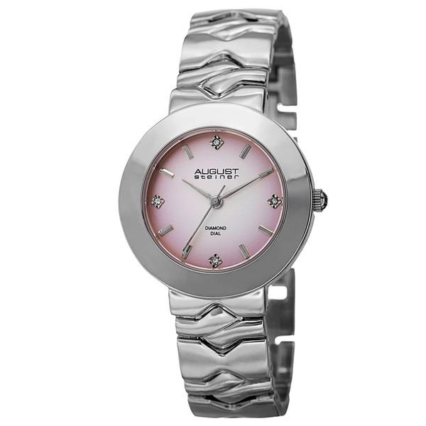 August Steiner Women's Quartz Diamond Markers Gradient Dial Pink Bracelet Watch