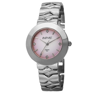 August Steiner Women's Quartz Diamond Markers Gradient Dial Pink Bracelet Watch