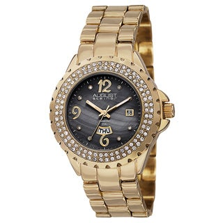 August Steiner Women's Quartz Diamond Gold-Tone Bracelet Watch