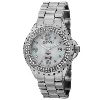 August Steiner Women's Quartz Diamond Silver-Tone Bracelet Watch with FREE GIFT