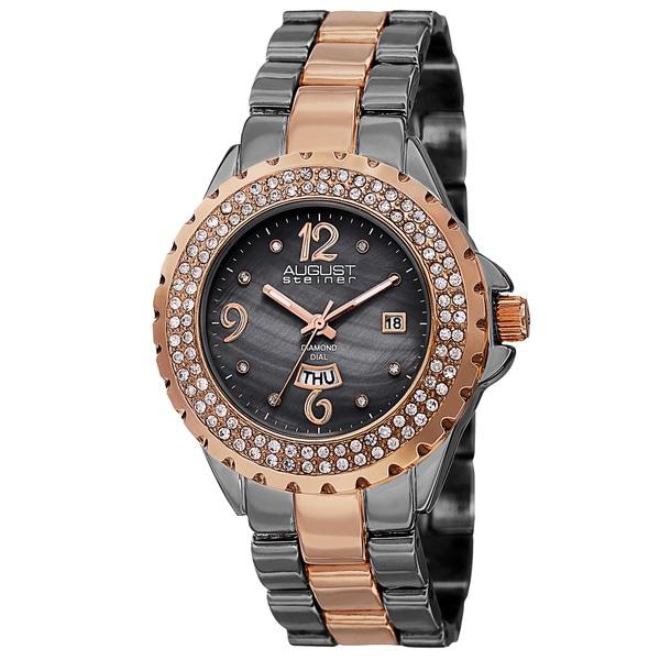August Steiner Women's Quartz Diamond Two-Tone Bracelet Watch