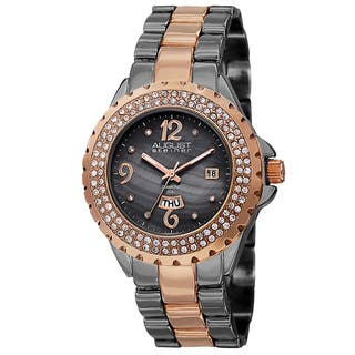 August Steiner Women's Quartz Diamond Two-Tone Bracelet Watch