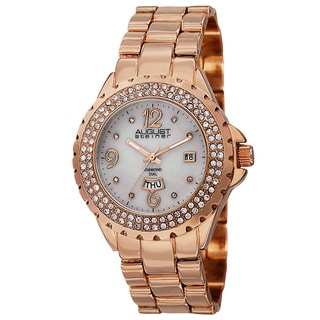 August Steiner Women's Quartz Diamond Rose-Tone Bracelet Watch with FREE GIFT