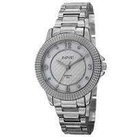 August Steiner Women's Quartz Diamond Markers Dial Silver-Tone Bracelet Watch