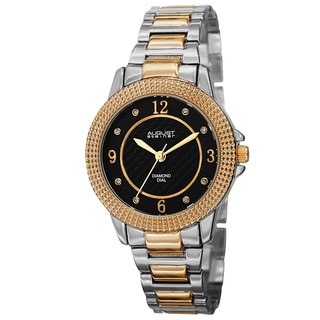 August Steiner Women's Quartz Diamond Markers Dial Two-Tone Bracelet Watch