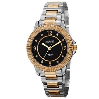 August Steiner Women's Quartz Diamond Markers Dial Two-Tone Bracelet Watch