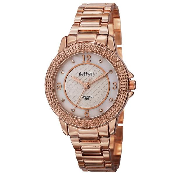 a60428316adb August Steiner Women  x27 s Quartz Diamond Markers Dial Rose-Tone Bracelet  Watch