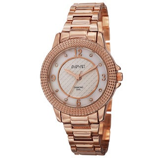 August Steiner Women's Quartz Diamond Markers Dial Rose-Tone Bracelet Watch