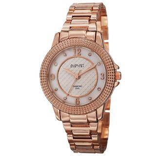 August Steiner Women's Quartz Diamond Markers Dial Rose-Tone Bracelet Watch with FREE Bangle