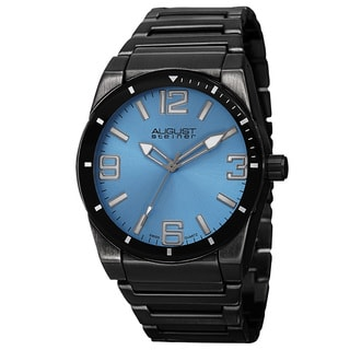 August Steiner Men's Swiss Quartz Easy to Read Markers Blue Bracelet Watch