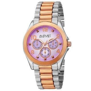 August Steiner Women's Quartz Colorful Dial Multifunction Two-Tone Bracelet Watch