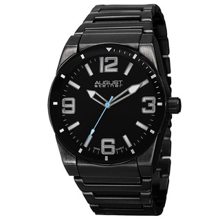 August Steiner Men's Swiss Quartz Easy to Read Markers Black Bracelet Watch