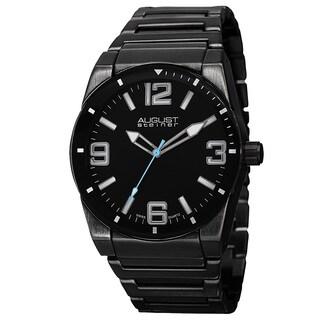 August Steiner Men's Swiss Quartz Easy to Read Markers Black Bracelet Watch