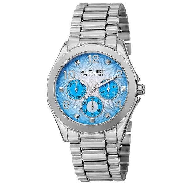 August Steiner Women's Quartz Colorful Dial Multifunction Silver-Tone Bracelet Watch