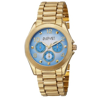 August Steiner Women's Quartz Colorful Dial Multifunction Gold-Tone Bracelet Watch