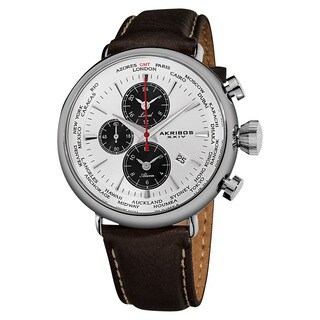 Akribos XXIV Men's World-Time Alarm Leather White Strap Watch