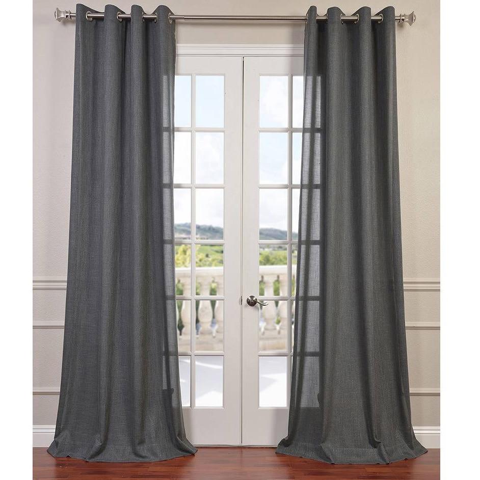Exclusive Fabrics Faux Linen Grommet Top Curtain Panel Ebay