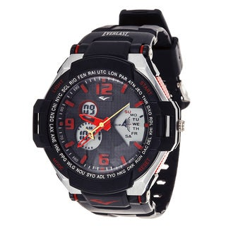 Everlast Diver Sport Men's Analog Digital Round Red Rubber Watch