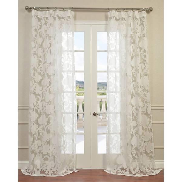 Exclusive Fabrics Venus White Designer Sheer Curtain Panel