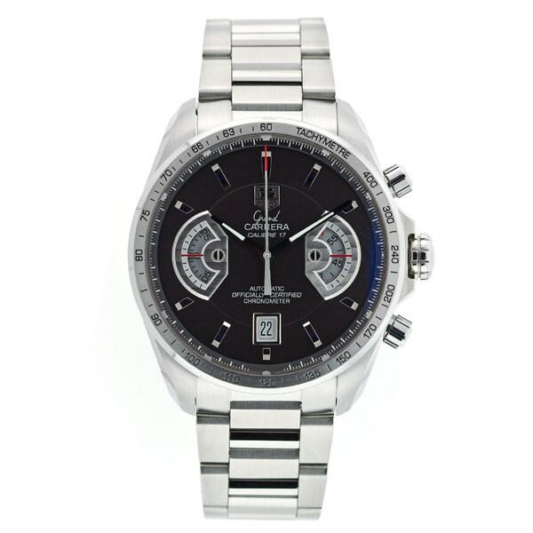 7a48ae0ceb8 Shop Tag Heuer Men's CAV511A.BA0902 'Grand Carrera' Chronograph Automatic  Stainless Steel Watch - Free Shipping Today - Overstock - 9826182