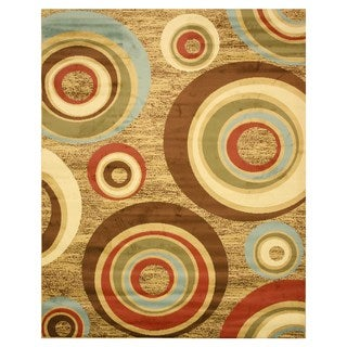 Beige Modern Abstract Prego Rug (7'10 x 9'10)