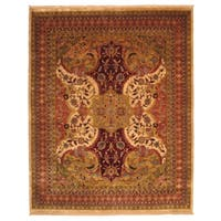 Hand-knotted Wool Ivory Transitional Oriental Polonaise Rug - 10' x 14'