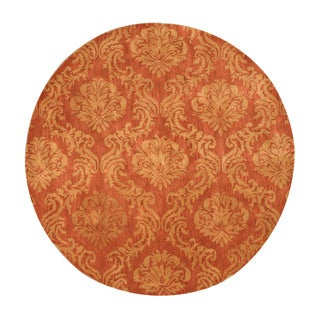 "Hand-tufted Wool Rust Contemporary Abstract Mona Rug - 7'9"" Round"