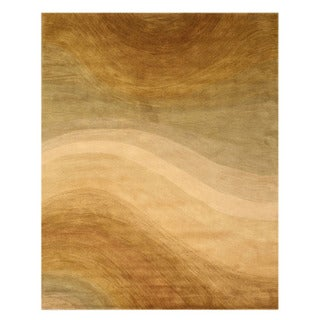 Hand-tufted Wool Gold Contemporary Abstract Morono Rug (4' x 6')