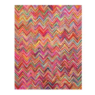 Hand-tufted Cotton Transitional Abstract Sari Chevron Rug (7'9 x 9'9)