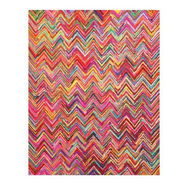 Hand-tufted Cotton Transitional Abstract Sari Chevron Rug (5' x 8') - 5' x 8'