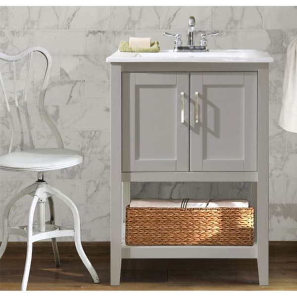 Ceramic 24-inch Single Sink Bathroom Vanity with Basket