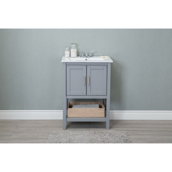 Legion Furniture 24 In Bathroom Vanity With Ceramic Top And Basket Included