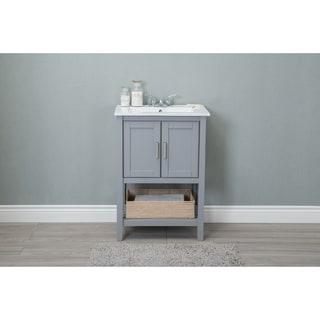 Ceramic 24 Inch Single Sink Bathroom Vanity With Basket