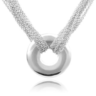 Journee Collection Sterling Silver Multi-chain Circle Pendant