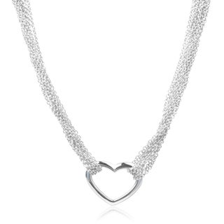 Journee Collection Sterling Silver Multi Chain Heart Pendant