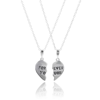 Journee Collection Sterling Silver Friendship Heart Necklace