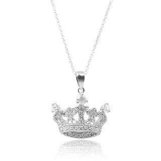 Journee Collection Sterling Silver Cubic Zirconia Crown Pendant