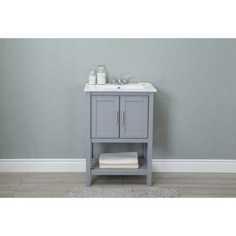 24 in. Gray bathroom vanity with single sink ceramic top