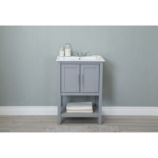 Legion 24-inch Ceramic Single Sink Grey Bathroom Vanity