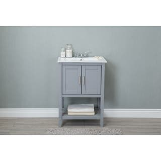 Legion 24 inch Ceramic Single Sink Grey Bathroom Vanity Vanities  Cabinets For Less Overstock com