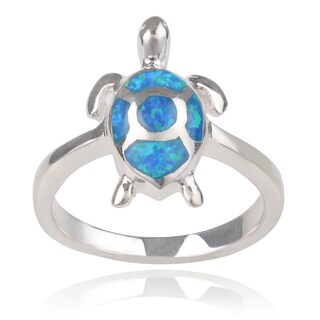Journee Collection Sterling Silver Opal Turtle Ring