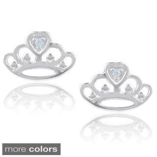 Journee Collection Sterling Silver Cubic Zirconia Crown Stud Earrings