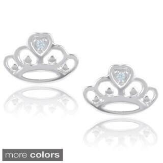 Journee Collection Sterling Silver Cubic Zirconia Crown Stud Earrings