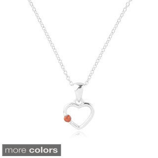 Sterling Silver Cubic Zirconia Heart Children's Necklace (More options available)