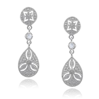 Journee Collection Sterling Silver Diamond Accent CZ Dangle Earrings